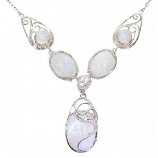 pierre de lune collier femme