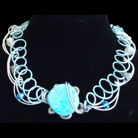 Collier rond agate blue lace