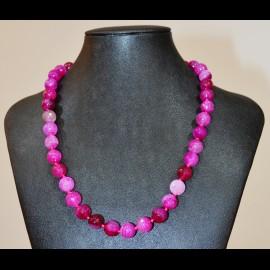 collier agate 12mm facetté rose