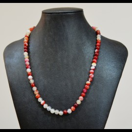 Collier agate 6mm rouge