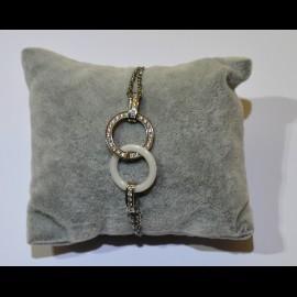 Bracelet céramique blanche et inox ceram34